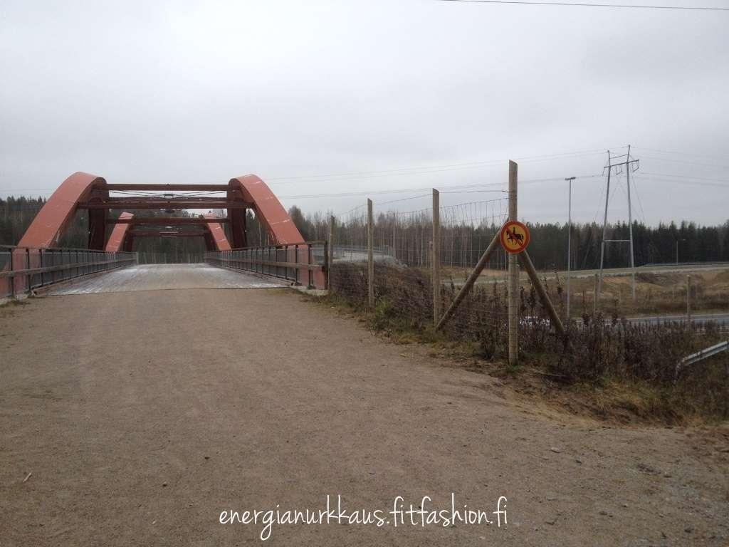 Tuttu silta ulkoilijoille sekä ohitustietä autoileville.
